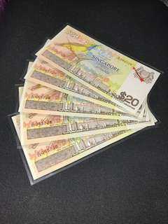 Singapore $20 bird series 5 pieces running banknotes