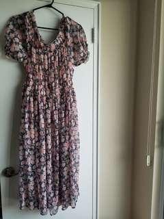 F21 Vintage off shoulder floral dress