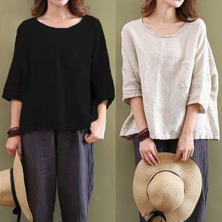 (S~5XL) Casual cotton loose round neck sleeves solid color T-shirt top