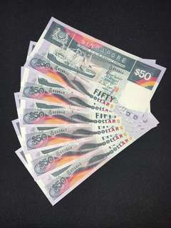 Singapore $50 ship 6 pieces running banknotes