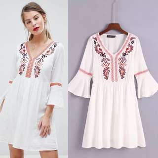 2018 Summer Embroidered Bell Sleeve Dress