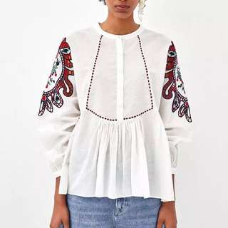 2018 European and American style embroidery casual white shirt