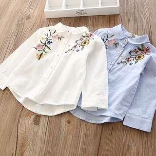 Girl Flower Lapel Shirt long-sleeved