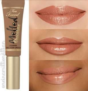 Restocked! Too faced long wear liquified lipstick in chocolate and chihuahua