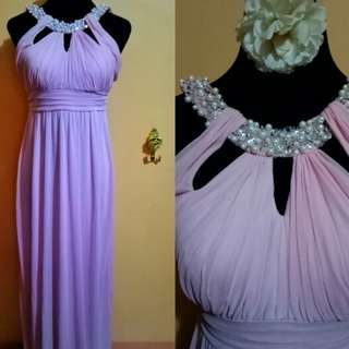 Pink Halter Empire Cut Long Gown