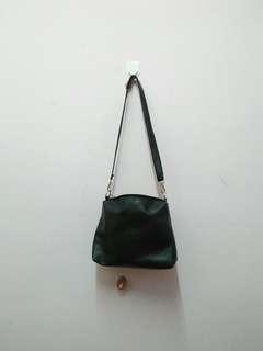 Black Shoulder Sling Bag Faux Leather