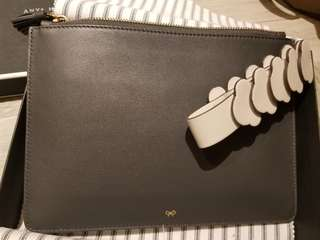 Anya hindmarch satin leather wristlet pouch