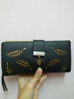 Women Purse Long Black Faux Leather
