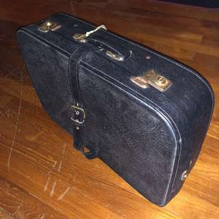 VINTAGE 1970s Leather Luggage with straps from NORWAY