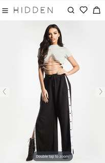 Black Side Popper Joggers with white stripes