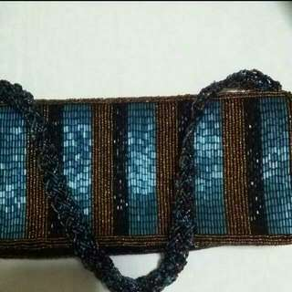 Turquoise and Black Brown Vintage Style Beaded Bag. Lined with brown satin inside. Purchased from WAREHOUSE UK.