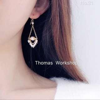 手作天然淡水珍珠14k包金波西米亞風耳環
