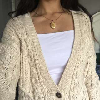 Beige cable knit oversized cardigan