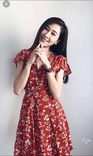 New Red floral dress
