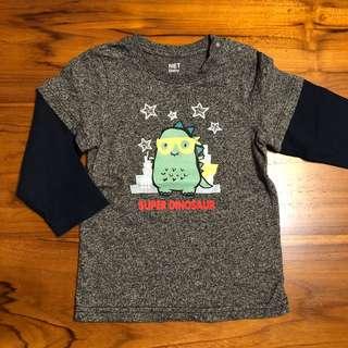 🚚 NET Baby 恐龍棒球T 拼接長袖上衣