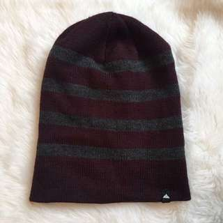 Maroon & Grey Striped Beanie