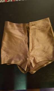 American Apparel Gold Disco Shorts