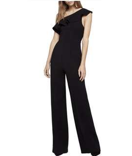 BCBG One Shoulder Ruffle Black Jumpsuit - size 2 / 6
