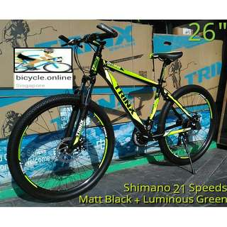 "26"" Aluminum MTB / Mountain Bikes ✩ SHIMANO 21 Speeds, Front suspension, Disc brakes ✩ Brand New, Quality Bicycles by TRINX"