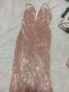 Backless Rose Gold Champagne Evening prom party dress ( dress pesta maxi ) sequin