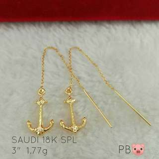 Authentic 18k saudi  gold anchor tictac earring