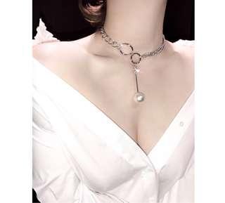 日韓扣環珍珠choker鎖骨鏈