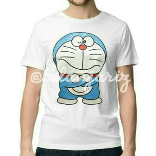 Kaos Distro Kartun Doraemon White