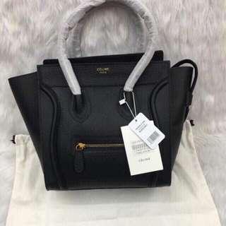 Celine Micro Luggage Tote Black Leather