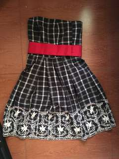 Black and white plaid dress with lace and removable red belt