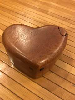 Heart-shaped Wooden Trinket Box with secret compartment