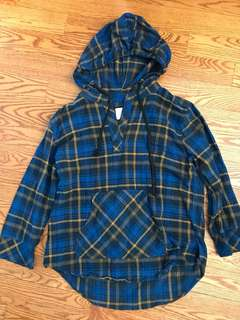 Plaid pull over with hood
