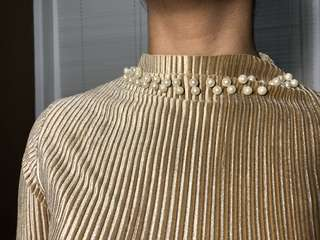 Gold Pleated Top