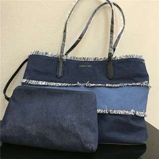 AUTHENTIC CHARLES & KEITH DENIM 2 IN 1 TOTE BAG