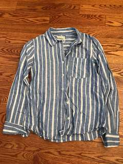 Blue and white striped button shirt