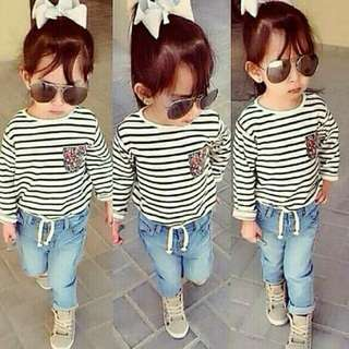 READY STOCK  Long SLEEVE stripe top + jeans kids  Rm45 Pos rm8Sm/rm12ss  SIZE refer chart