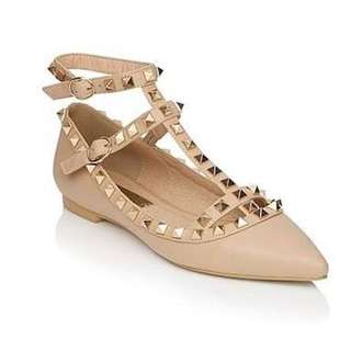 Billini Nude Studded Point Flats (Size 6)