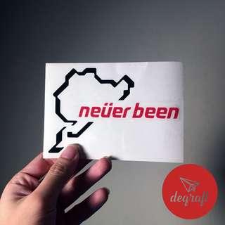 Car Sticker neverbeen Nurburgring !  2pcs Rm 25 !!