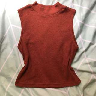 Burnt orange rib knit high neck summer tank top size XS 6