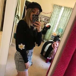 ASOS Floral daisy black sweater knitwear jumper size 6