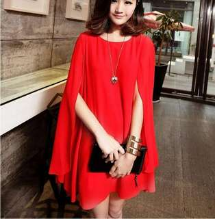 Cape Sleeve Chiffon Dress 074562 FM