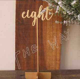 Gold/ Silver laser cut wooden table number