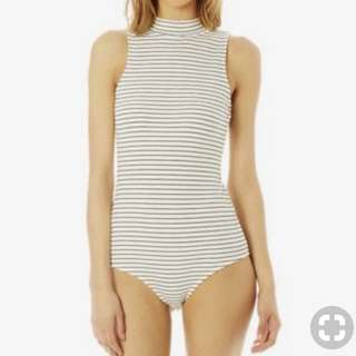Glassons ribbed striped bodysuit