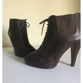 Brown peep toe lace booties
