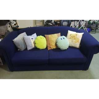 Blue 3 Seater Sofa Bed Excellent Condition