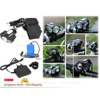 Front Light CREE T6 LED Bike Lamp X3 Headlights (16550 Battery Pack)