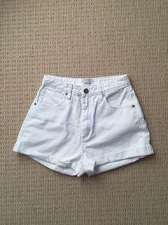 Abrand white high waisted shorts