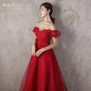 Red Off Shoulder Wedding Dress (Rent) Dinner Dress Evening Gown Bridal Wear Flare Floral Lace