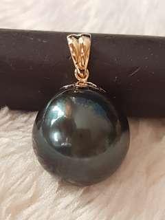 Real BLACK Tahitian pearl pendant