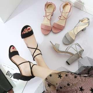 ✽精品✽粗跟綁帶羅馬高跟涼鞋(3色)