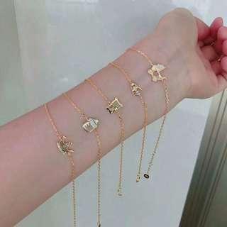 🚚 純銀鍍18k Hefang 珠寶童趣手鍊。送禮自用宜